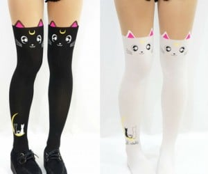 The cutest pair of anime kitties will adorn your legs with an adorable attitude!