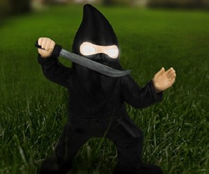 This Ninja Garden Gnome is here to protect your shrubs! Integrated with a solar panel battery