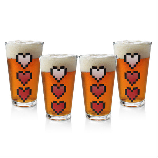 zelda heart pint glasses