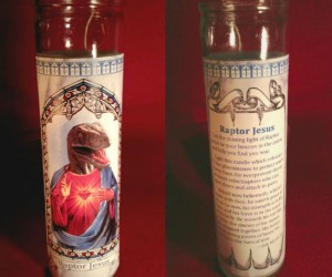Raptor Jesus Candle – Nowhere in the Bible does it say that Jesus wasn't a raptor.