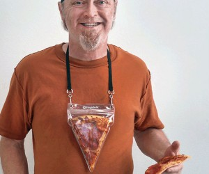 The Pizza Pouch is a bold (and delicious) fashion statement. Portable pizza. The best invention since delivery.