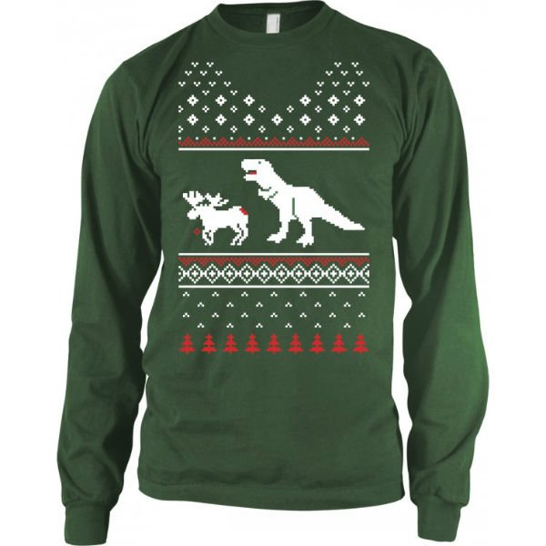 trex attack ugly christmas sweater
