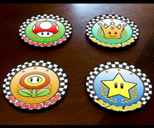 Kart Racing fans unite! Use this set of coasters to impress your friends as well as protect your surfaces! No cup rings will ruin your table!