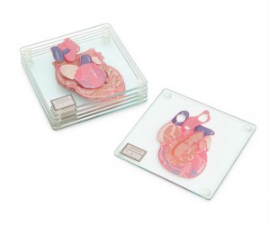 Six glass coasters stack to form a heart!