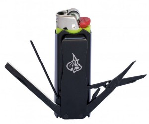 The LighterBro Multitool includes a knife, screwdriver, scissors, and bottle opener!