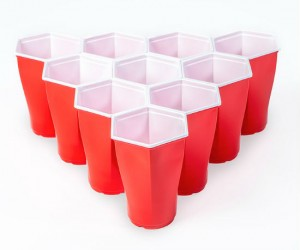 Hexcup Beer Pong Set -  honey bee inspired hexagonal design for perfect, easy racks every time
