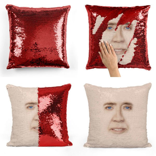 creepy nic cage sequin pillow